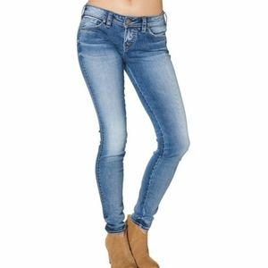 Silver Aiko Acid Light Wash Skinny Jeans Western